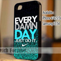 Nike Every Damn Day Blue Combination Sparkle Glitter Mint Design for iPhone 4/4s/5, Samsung Galaxy S3/S4 Case