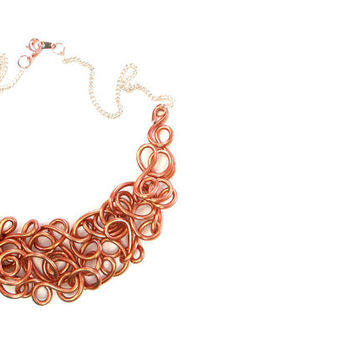 Lacy Copper Bib Necklace Copper Wire Abstract Modern Neutral Jewelry