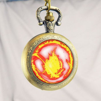 Fire divergent  Watch Pocket Watch,Sunflower Pendant , Sunflower Necklace,Jewelry ,Pocket Watch