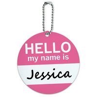 Jessica Hello My Name Is Round ID Card Luggage Tag