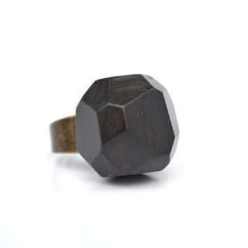 Faceted black onyx wood ring tree branch wood statement ring rustic jewelry wood geometric jewelry by Starlight Woods