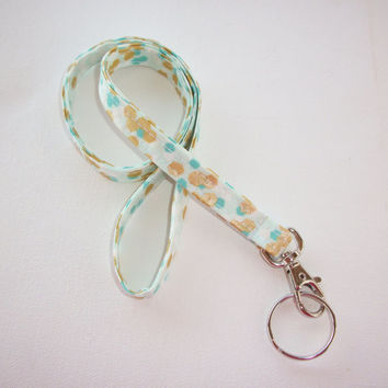 Lanyard  ID Badge Holder - NEW THINNER design - metallic gold mint turquoise flecks Confetti dots - Lobster clasp and key ring coworker gift