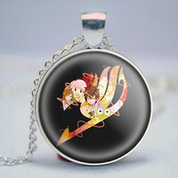 Fairy tail logo pendant cabochon necklace anime manga art