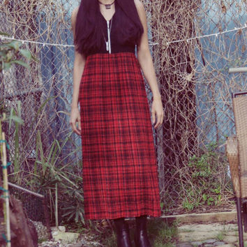 Womens 90's Grunge Tartan Maxi Dress/ GOTHIC Gypsy Maxi Dress/ Red Plaid GRUNGE Maxi Dress