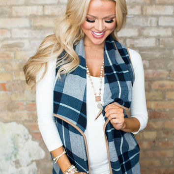 Make Me Pretty Plaid Suede Trim Vest Navy