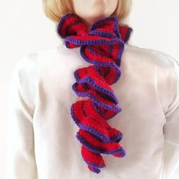 Ruffled Scarf, Scarflette, Neckwarmer Crocheted in Red & Purple Shimmer . Fashion Accessories, Winter Warmers,
