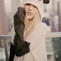 Wildfox Panda Face Hooded Billy in Vintage Lace