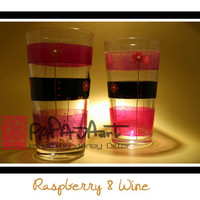 Raspberry & Wine - Original Hand Painted Glasses, SET OF 2