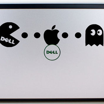 Dell Pacman Decal / Pacman eating Apple Decal / Laptop Decal / Dell Decal