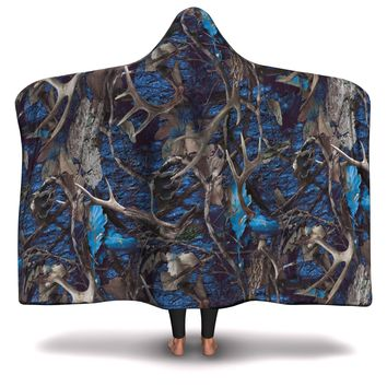 Hooded Blanket All-Over 9th  Design Turquoise Hunting