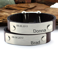 Personalized Couples Bracelet, Matching Name Bracelet, Custom Date Bracelet, Couples Jewelry, Personalized Gifts, His and Hers Bracelets