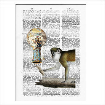Vintage Dictionary Paper - Monkey Balloon Dictionary Art Print