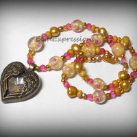 Pink Gold Brass pendant necklace heart pendant tropical jewelry Island necklace Beach pendant necklace freshwater pearls Florida souvenir