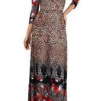 Velzera Maxi Wrap Look Dress- Animal Print-Red Floral
