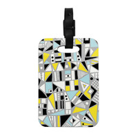 "Emine Ortega ""Fun Geo Too"" Aqua Yellow Decorative Luggage Tag"