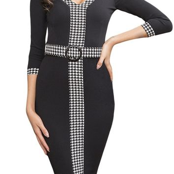 Black Houndstooth Detail Midi Dress