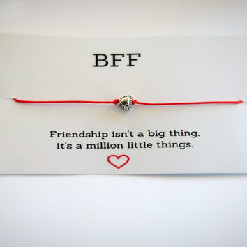 Best Friend Gift, Best Friend Bracelet, Wish Bracelet, Quote bff, Red String Bracelet, Charm Bracelet, Heart Make a Wish, Tiny Charm, BFF