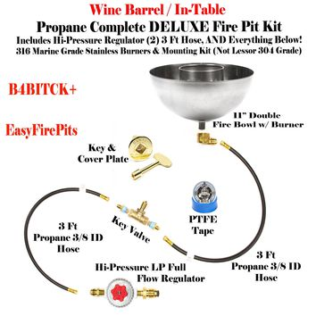 """B4BITCK+: 11"""" Fire Bowl w/ In-Table DIY (Do It Yourself) Propane DELUXE Fire Pit Kits to Make Wine Barrel / Fire Table Fire Pit Kits"""