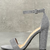 Kyra Pewter Glitter Ankle Strap Heels