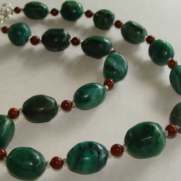 Jade Statement Necklace, Long Beaded Tribal Stone Strand, Rare African Prase Chunky Nuggets, Red Mahogany Jasper, Handmade Solid Silver