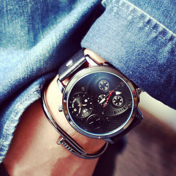Mens Sports Leather Watch Gift - 519