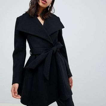 ASOS DESIGN waterfall collar coat with tie belt at asos.com