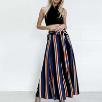 Summer High Waist Women's Fashion Stripes Wide Leg Split Pants [11462530767]