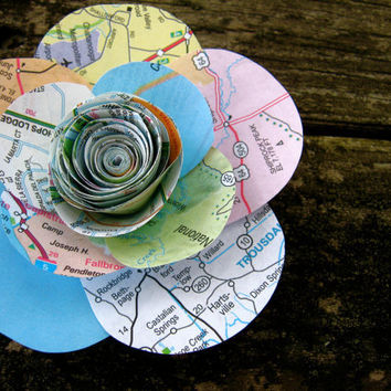 Small map flower with petals: accessory, hair clip, brooch pin, home decor, wedding, gift topper