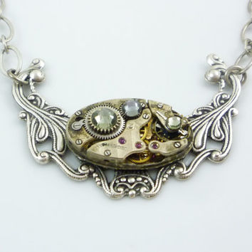 SteamPunk Necklace with Vintage Watch Movement and Grey Swarovski Crystals on Antique Silver Finish Filigree Pendant