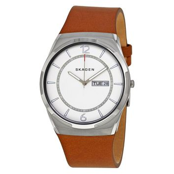 Skagen Melbye White Dial Mens Brown Leather Watch SKW6304