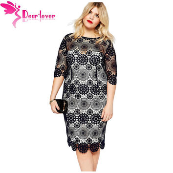 Dear Lover Elegant Loose Big Women Clothing Plus Size Half Sleeve Black Lace Crochet Sleeved Pencil Dress Vestido Renda LC61064