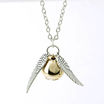 women and men 2016 Fashion retro Deathly Hallows Necklace Gold Snitch Exquisite Ball Wings Feather Necklaces & Pendants Choker
