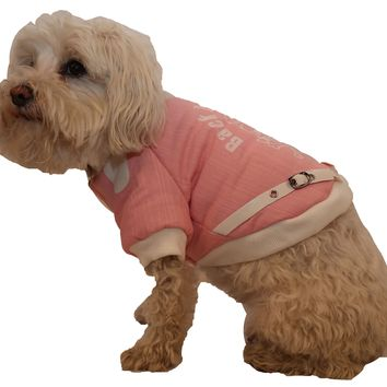 Vasity-Buckled Collared Pet Coat - Pink/White: X-Small