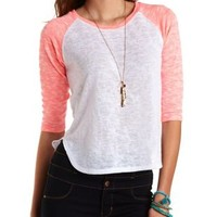 Three-Quarter Sleeve Baseball Tee by Charlotte Russe
