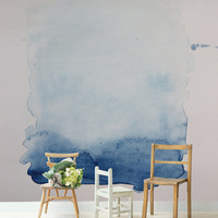 """Blue Wash Removable Wall Mural, 66""""x96"""" Watercolour Painting, Self Adhesive Wallpaper, Wedding Backdrop or Feature Wall in your Home"""