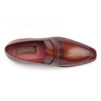 Paul Parkman Men's Penny Loafer Tobacco & Bordeaux Hand-Painted Shoes