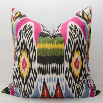 20x20 beautiful pink blue yellow green multicolored ikat pillow cover, cushion