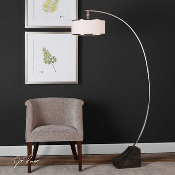 uttermost kelcher plated brushed nickel arc floor lamp