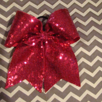 Hot Pink Small Sequin Cheer Bow