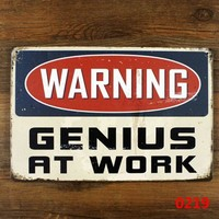 funny retro metal tin sign for home office wall decor , warning genius at work Metal Craft Vintage Cafe Decor