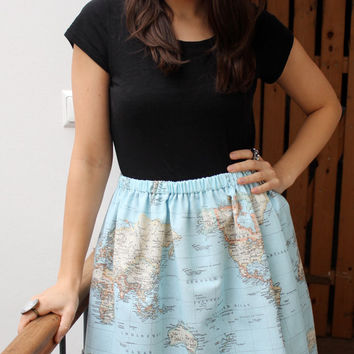 Skirt/ world map/ swinging/ playful/ high waisted - Wonderful world