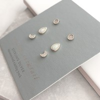 Sterling Silver Earring Cocktail - Set of 3