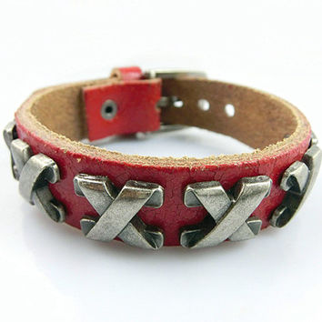 Fashion Punk  Rivets Adjustable Leather Wristband Cuff Bracelet - Great for Men, Women, Teens, Boys, Girls 2591S