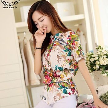 2018 Summer style Kimono blouses top Plus size XS-5XL Chiffon Printed Short sleeve Casual Women shirts blusas tops vintage body