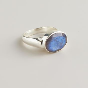 Sterling Silver and Labradorite Oval Ring - World Market