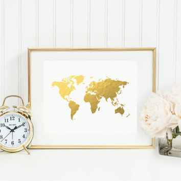 Real Gold Foil World Map, Trendy Art, Gold Foil, World Atlas Wall Art, Geography Art Print, Gold Map Poster, Gold Art, Gold Wall Decor.