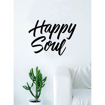 Happy Soul Quote Decal Sticker Wall Vinyl Decor Art Living Room Bedroom Inspirational Yoga Good Vibes Namaste