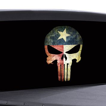 Punisher Skull Window Decal Distressed Texas Flag Vinyl Graphic Military Dodge Ford
