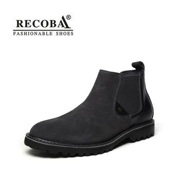 Men boots suede black genuine leather ankle fashion boots for men boots