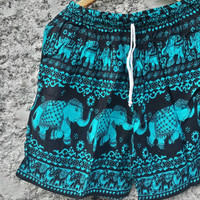 Unisex Shorts Elephants Printed Boho Hobo Hippies Cloth Aztec Ethnic Bohemian Baggy Chic Clothing Summer Spring wear for Men Women In Blue